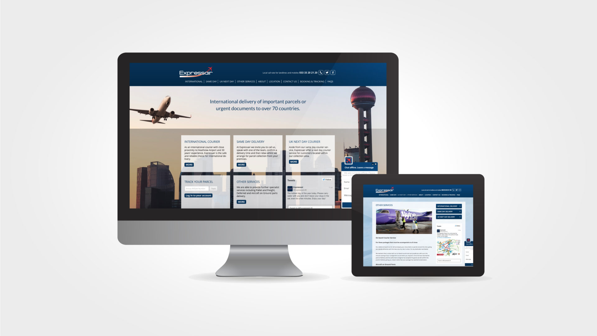 expressair website design