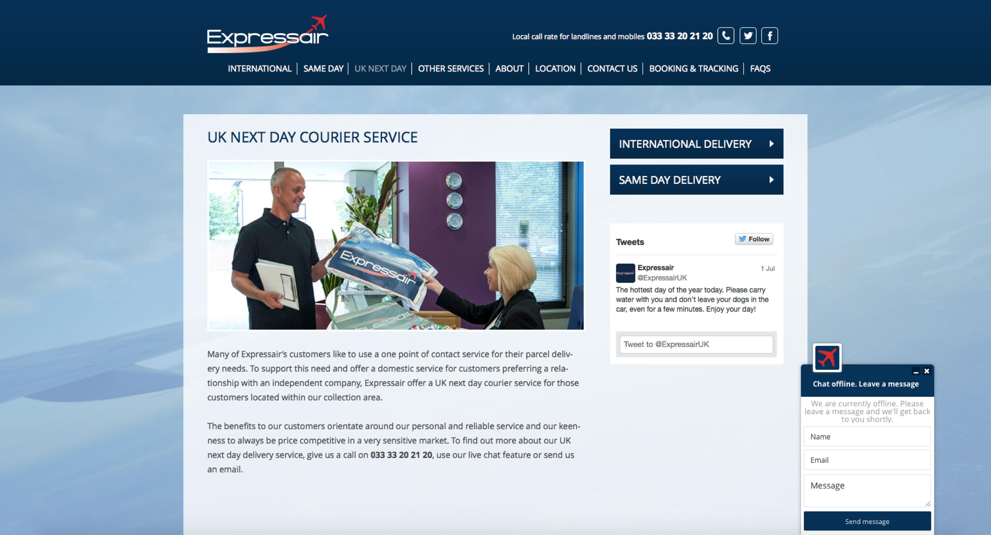 expressair website internal page