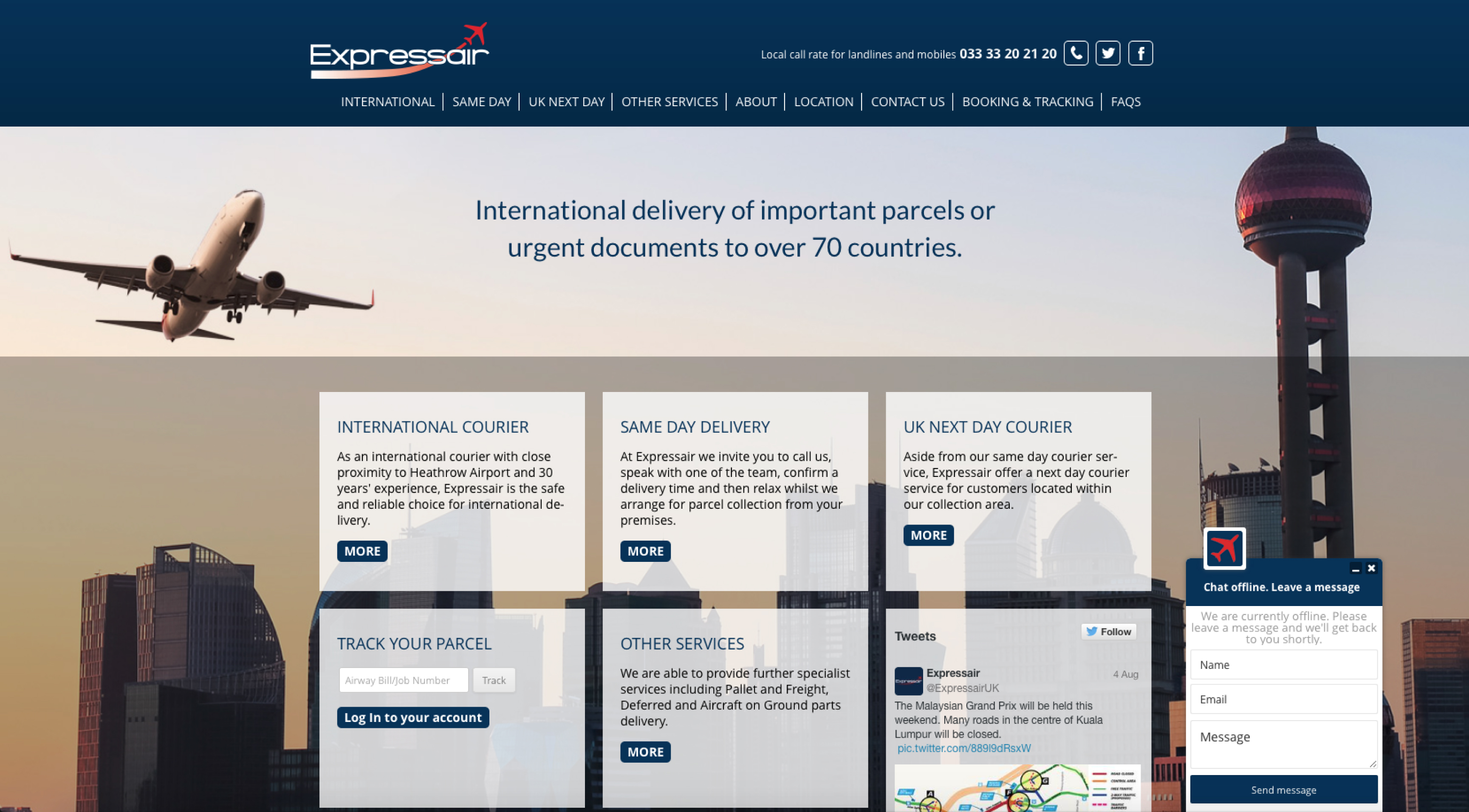 expressair homepage layout